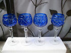 4 Bohemian Cobalt Blue Cut to Clear Crystal Clear Stem Wine Goblets