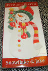 FITZ & FLOYD 2009 Winter Snowman holds Christmas Tree Elongated Tray Cookie NEW