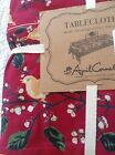 APRIL CORNELL TABLECLOTH BURGUNDY & ORANGE TRIM BIRDS AND BRANCHES 60 X 120  NWT