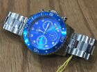 21890 Invicta Men 45mm Pro Diver Quartz Chronograph Blue Dial SS Bracelet Watch