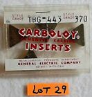 Carboloy Cemented Carbide Insert TBG 443 Grade 370 NEW Lot  29