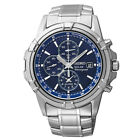 New Seiko SSC141 Solar Alarm Chronograph Stainless Blue Dial Men's Watch