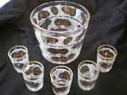 Vtg Mid Century 6 Pc. Glass Ice Bucket + Shot Glasses Gold Trimmed Pine Cones