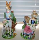 FITZ AND FLOYD OLD WORLD RABBITS CANDLESTICKS RETIRED - MINT