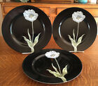 3 FITZ AND FLOYD CHINA  MIDNIGHT POPPY PATTERN DINNER PLATES - PALE BLUE FLOWER