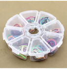 8 Grid Round Clear Plastic Craft Tool Storage Box Organizer Bin Case Hot
