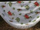 Vintage Oval Christmas Tablecloth w Fringe Bright Cheery Holiday Floral Sprays
