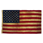 USA Vintage Tea Stained Boxed American Flag 50 Stars 3 By 5