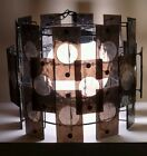 Mid Century Chandelier C. 1960's Smoked Lucite Panels over Metal Frame