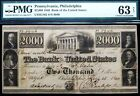 1840 BANK OF THE UNITED STATES $2000 BANK NOTE PMG CHOICE UNCIRCULATED 63