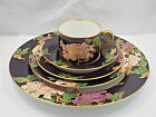 Fitz & Floyd China Cloisonne Peony Black Service for 8, 5 Piece Place Setting