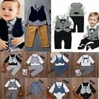 Infant Baby Boys Gentleman Clothes Set Party Formal Tops  Pants Romper Outfits