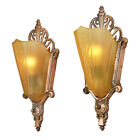 Art Deco Antique Wall Sconces Slip Shade Lights Circa 1930s Fixtures (ANT-753)