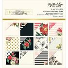Scrapbooking Crafts Minds Eye In Bloom 6X6 Paper Pad Roses Black Gold Dots Pink