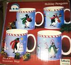 New Sakura Holiday Penguins  Set of 4 assorted Mugs Stephanie Stouffer