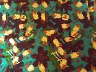 Vintage Marcus Brothers Textiles Bold Bright Ram Sheep Fabric Remnant 75x 56