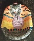 FITZ FLOYD ESSENTIAL KITTY WITCHES CAT CREEPY CRAWLIES CANDY DISH BOWL HALLOWEEN