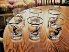 6 VINTAGE WILD FOWL GOLD RIM/MOTIFS CL GLASS HIGH BALL/TUMBLER GLASSES 4.5