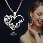 Women Love Mom Charm Silver Crystal Heart Pendant Necklace Great Mothers Gift