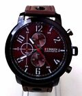 Men's Fashion Watch W/Date Dial Curren M8192 Brown Leather Band Water Resistant