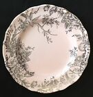 222 FIFTH PINK SILVER ADELAIDE EASTER SPRING TOILE DINNER PLATES~SET of 4~NEW