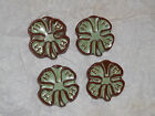 Vintage Frankoma Brown & Green 4H Clover Club Pin / Brooch - multiples available