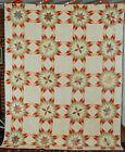 Vintage Pre Civil War Touching Stars Antique Quilt ~VERY EARLY FABRICS!