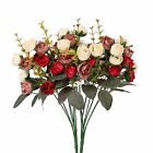 Houda Artificial Silk Fake Flowers Rose Floral Decor BouquetPack of 2 Red