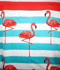 Aloha Flamingo Fun beach pool bath towel 28  X 58  pink coral teal blue stripe