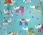 Cynthia Rowley Decorated Elephants turquoise blue beach pool bath towel 40 X 70