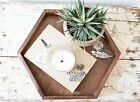 Wooden Hexagon Tray - Walnut Wood Jewelry Box Rustic Modern Decor Makeup Handmad