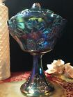 Northwood Carnival Iridescent BlueGlass Harvest Grape Compote, Candy Dish 2Piece