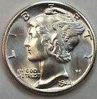 1944-D MERCURY DIME UNC. FRESH OUT OF ROLL -FULL BANDS -MINT LUSTER Lot #012