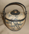 Antique Japanese Teapot Blue and White Ceramic Handpainted Metal Accents