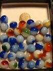 36 Vintage Akro Agate Pee Wee Patch Marbles Blue Red Green -Mint+ Beautiful Lot