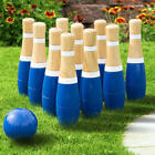 Wooden Lawn Bowling Set Outdoor Garden Funny Kids Games Family Yard Skill 8 Inch