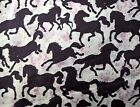 Brown Horse Pony Silhouette Flannel Fabric on Pink 2011 Springs BTY By The Yard