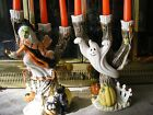 Fitz & Floyd Halloween Harvest Witch & Ghost Spooky Tree Candle Holder SET of 2