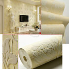Floral 3D Embossed Textured Non woven Flocking Wallpaper Wall Paper Rolls 10m