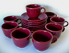 Set of 8 FIESTA 2010 Retired Color CINNABAR Maroon Cup Saucer Sets DATE CODE YY