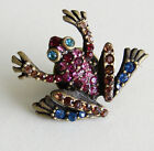 Jay Strongwater Aidan Jumping Frog Pin/Tack Swarovski Crystals Retired w/Bag