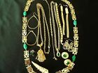 Jewelry Lot Gold Tone Green Rhinestone Lot Unique items Necklaces Earrings