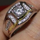 NICE Mens 925 Sterling Silver 2ct White Sapphire Engagement Wedding Band Rings
