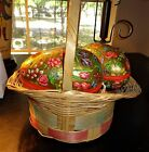 Vintage Western Germany 6 Paper Mache Easter Egg Candy Container Gold FLOWERS