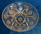 Old Large Heavy Glass CUT CRYSTAL BOWL etched starburst American Dish