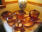Corning Ware Glass Vision Ware 1 Liter Pot with spout ( Pyrex-) Amber Lid  Great