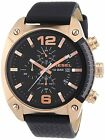 Diesel Authentic Watch DZ4297 Men's OverFlow Black Dial Black Leather Chron 49mm