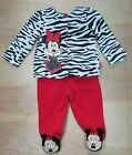 Baby Girl Minnie Mouse 3 6 Month Zebra Print Top  Red Pants Outfit