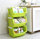 Plastic Storage Baskets Bins Tote Boxes Stacking Container Organizer 3Pack Green