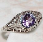 1CT Amethyst 925 Solid Sterling Silver Art Deco Filigree Ring jewelry Sz 8